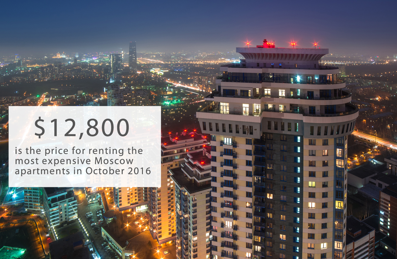 In October 2016, the most expensive apartment for rent in Moscow is in a modern complex on the west side of the city. Encompassing 3,122 square feet, furnished with expensive furniture and equipped with a 300-foot terrace, the owner is asking 800,000 rubles ($12,800) per month, according to the INKOM-real estate company, writes Lenta.ru.Second place on the list of most expensive Moscow apartments is a 3,445-square-foot residence on Ostozhenka Street, priced at 750,000 rubles per month ($12,000). The apartment has three bathrooms and five bedrooms.The cheapest apartment for rent is located on the south side of Moscow, on Marshal Savitsky Street, 20 minutes by bus from the Boulevard of Admiral Ushakov metro station. It costs only 18,000 rubles per month ($288).Moscow Art Nouveau: Monument to a faded empire>>>