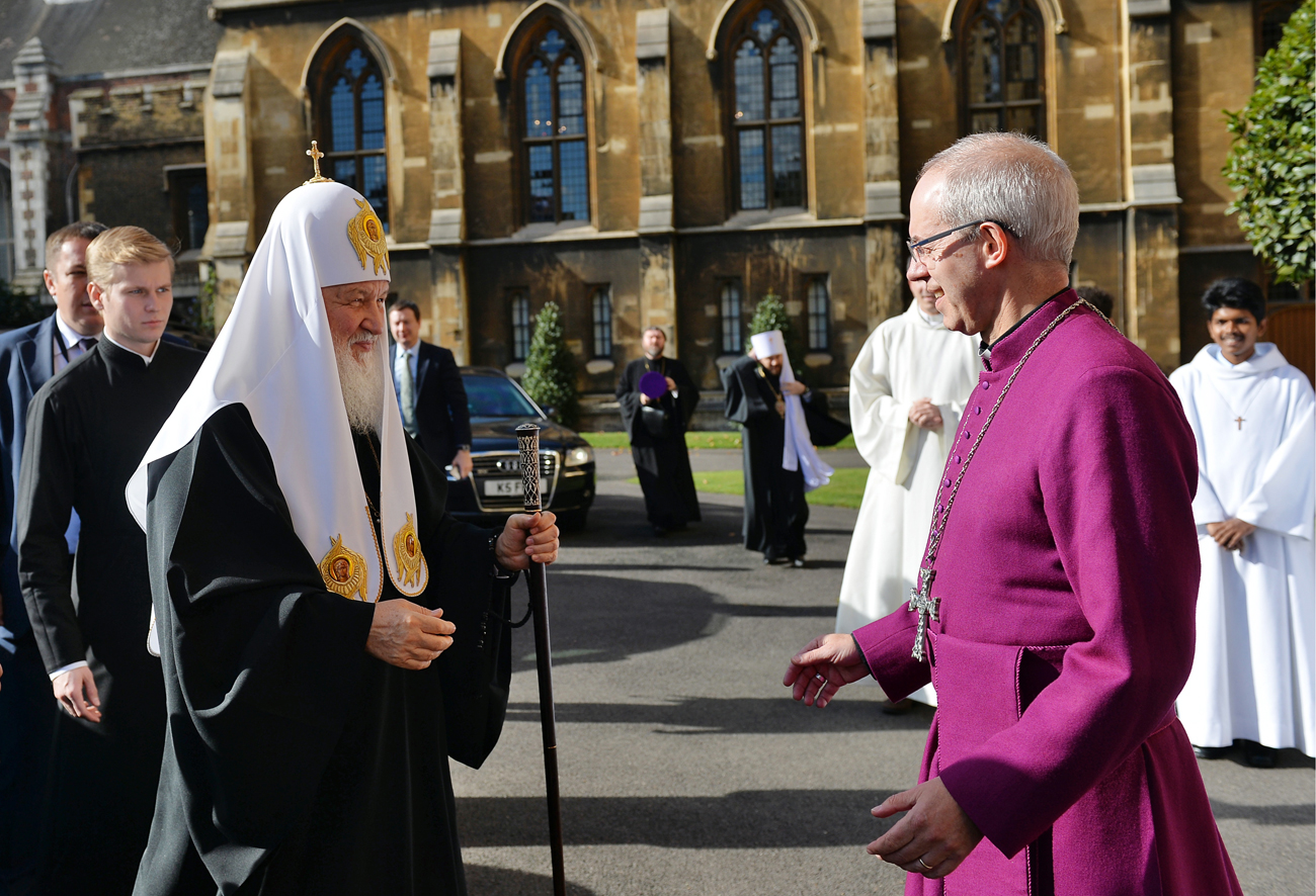 Patriarch Kirill (L) of Moscow and All Russia meets with Archbishop Justin Welby of Canterbury at Lambeth Palace on Oct. 18.