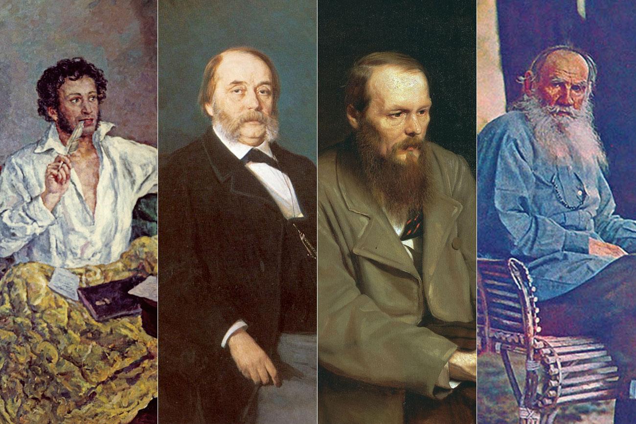 Александър Пушкин, Иван Гончаров, Фьодор Достоевски, Лев Толстой.
