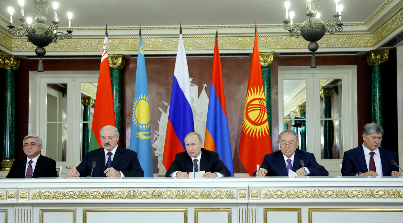 Armenia's President Serzh Sargsyan (L-R), Belarus President Alexander Lukashenko, Russia's President Vladimir Putin, Kazakhstan's President Nursultan Nazarbayev at the meeting of the Eurasian Economic Union in Moscow, 2014.
