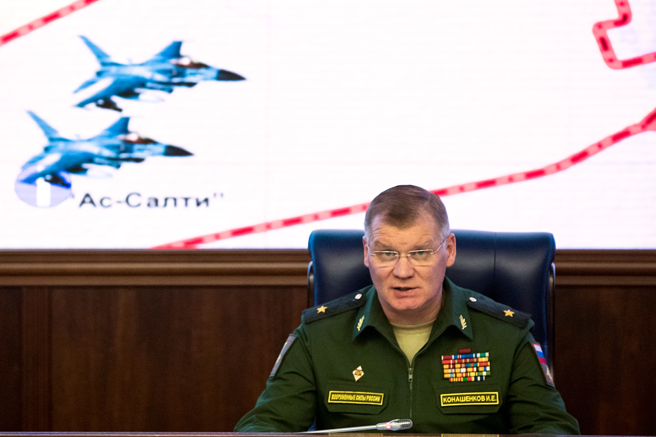 "Konashenkov: ""Such statements once again demonstrate how differently the State Department and we understand ""the use"" of humanitarian pauses."" Photo: Russian Defense Ministry spokesman Maj. Gen. Igor Konashenkov."