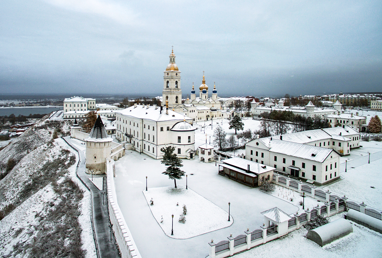 Bird's-eye view of the Tobolsk Kremlin, Siberia (1,160 miles east of Moscow).