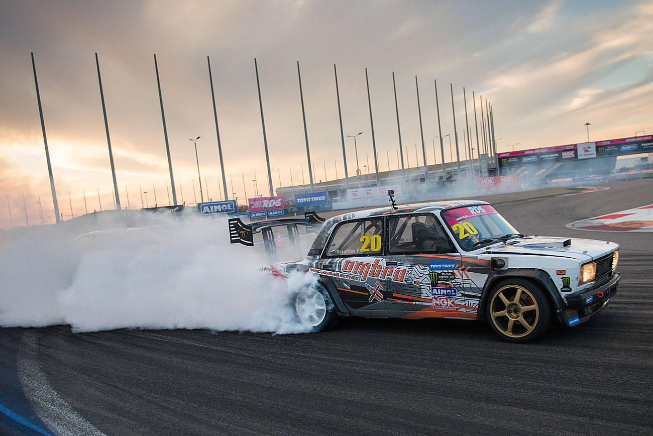 Russian drift driver Fyodor Vorobyov's VAZ 2105 car during the Champions Cup event of the Russian Drift Series at the Sochi Autodrom racing circuit on Oct. 23.