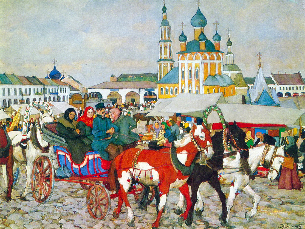 KONSTANTIN YUONKonstantin Yuon was a Russian graphic artist, stage designer, and painter. He worked in various fields, but his main calling was landscape painting. Learning from the Impressionists, Konstantin also paid close attention to the Russian realist traditions of the late 19th century. Like Boris Kustodiev, he adored Russian antiquity, its decorativeness and vividness. He often depicted the Russian provinces. His interest lay in the contrasting weather conditions, the life of provincial towns and villages, and the architecture of churches and monasteries. After the revolution, the artist's style changed, but one century later the Russian village ethos frozen on canvas in the paintings of Konstantin Yuon is priceless. / A horse-drawn troika in Uglich, Konstantin Youn, 1913.