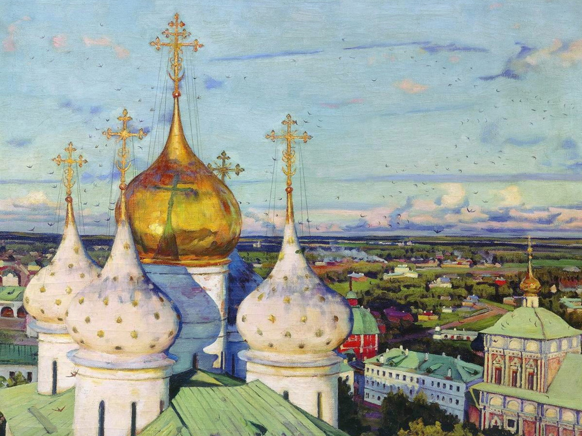 Domes and swallows. Assumption cathedral of the Trinity Sergius Lavra, 1921.