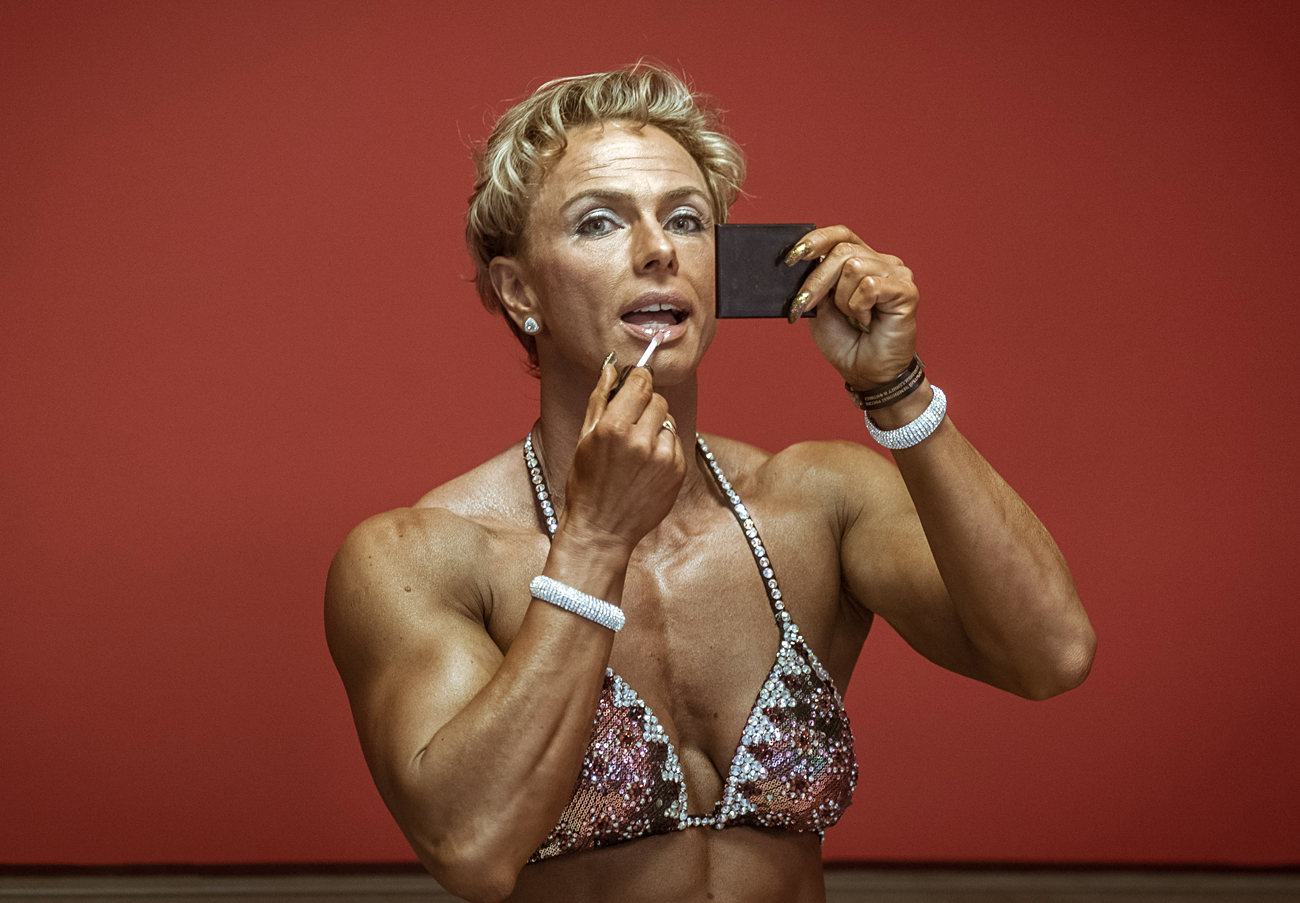 A contestant preparing for the 2016 Russia Bodybuilding and Fitness open championship at the Uralochka sports palace, Yekaterinburg (880 miles east of Moscow).