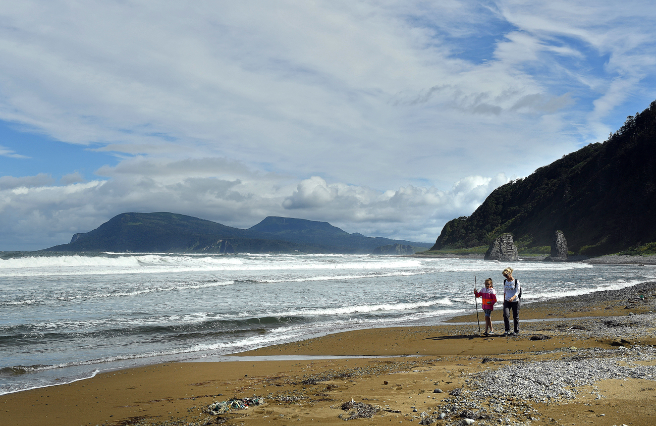A beach near Cape Stolbchaty on Kunashir Island, Southern Kurils.  Tokyo claims the entire Southern Kuril range.