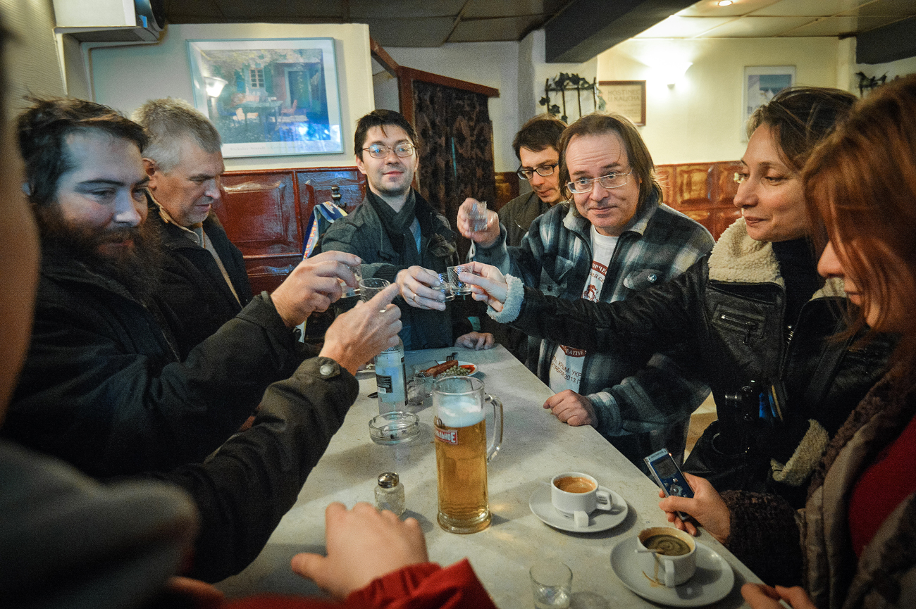 "Visitors at the bar ""Aist"" (Stork) on Lubyansky Proyezd in Moscow."