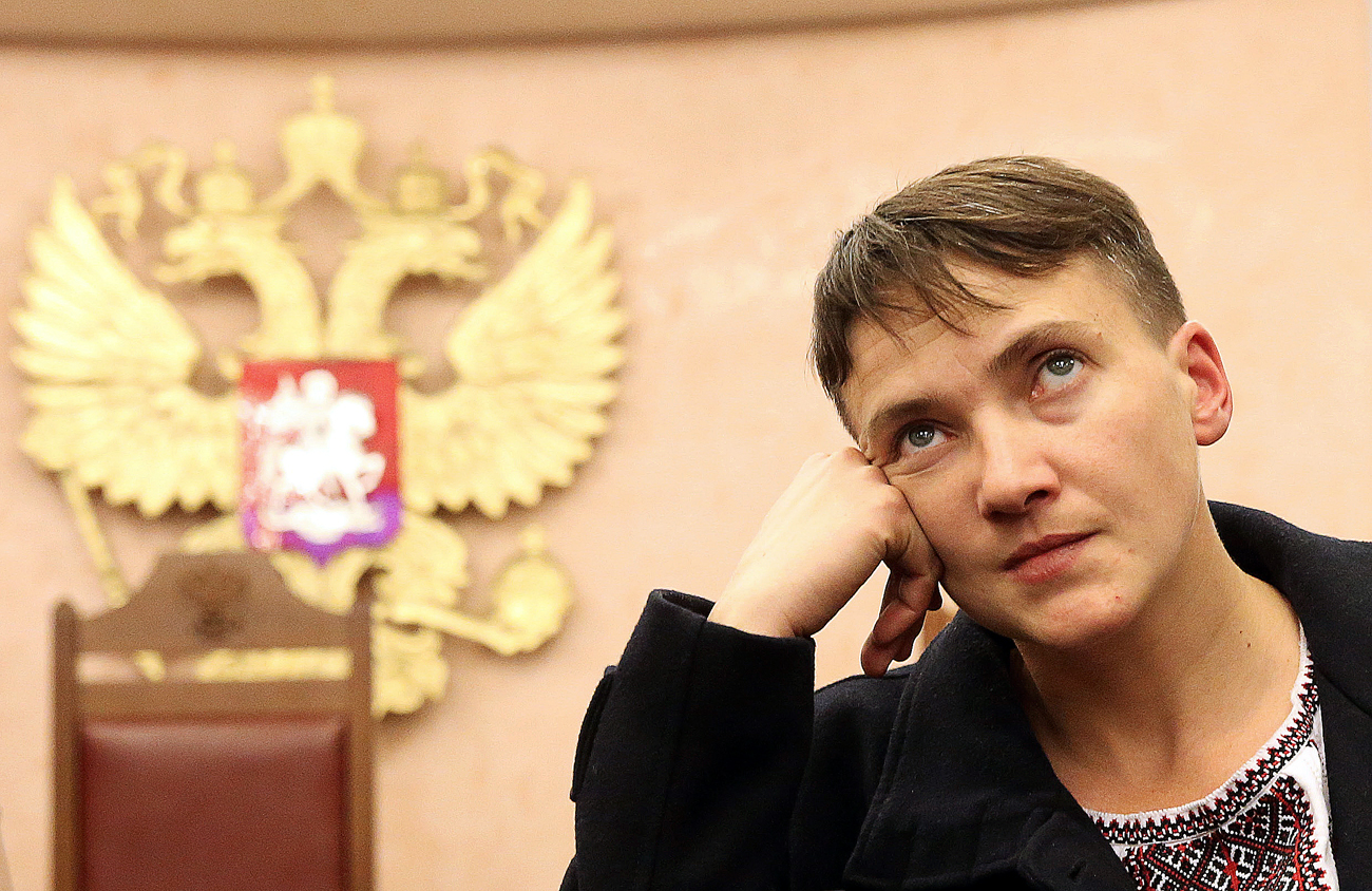 Ukraine's Verkhovna Rada member Nadezhda Savchenko attends Russia's Supreme Court hearing into the case of Nikolai Karpyuk and Stanislav Klykh, Ukraine's UNA-UNSO far-right organisation members charged with killing Russian soldiers in the Chechen War (1994-1995).