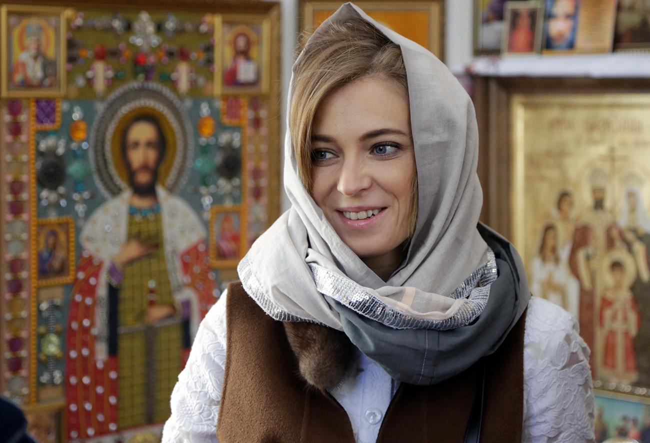 Пратеничката во Државната Дума на РФ Наталија Поклонскаја на отворањето на капелата во чест на мачениците царот Николај II и неговото семејство во Симферопол.