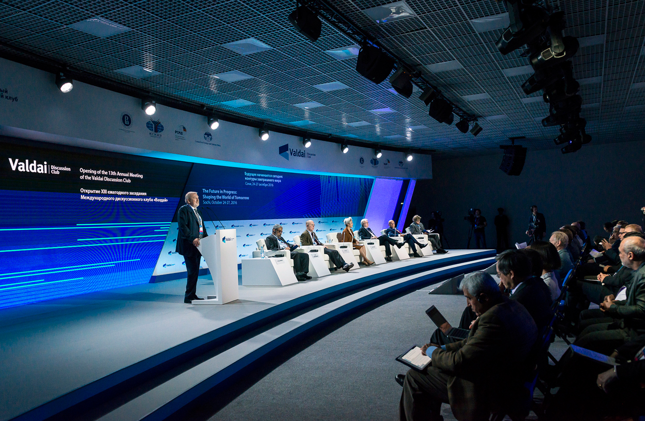Andrei Bystritsky, chairman of the board at the Foundation for the Development and Support of the Valdai Discussion Club, speaks at a meeting as part of the 13th annual meeting of the Valdai Discussion Club, Sochi, Oct. 25, 2016.