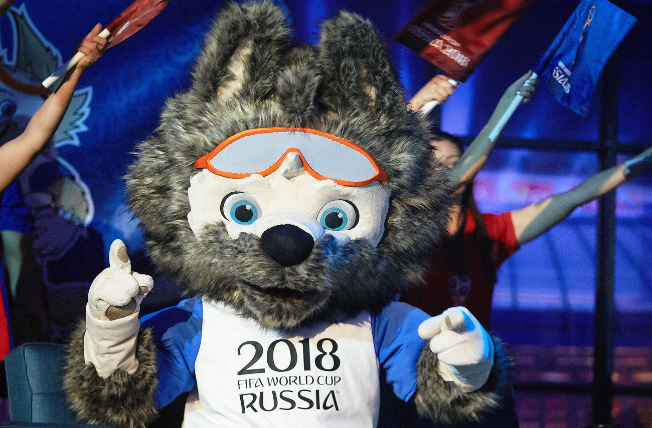 """I must say that Zabivaka the wolf has been my mascot at university and at work for the last 15 years. I'm happy that now he will help Russian sport!"" Photo: The official mascot of the FIFA World Cup 2018 Wolf Zabivaka."