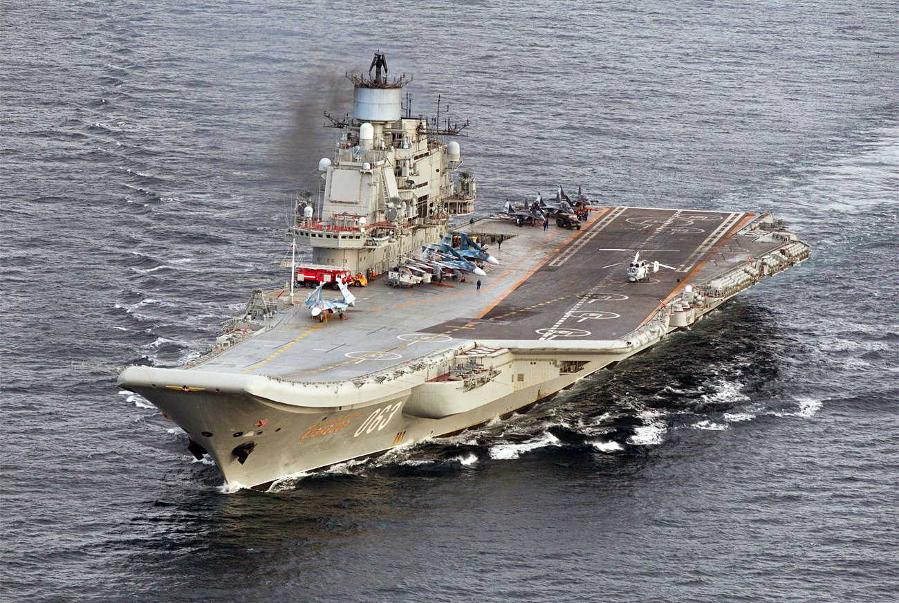 A photo taken from a Norwegian surveillance aircraft shows Russian aircraft carrier Admiral Kuznetsov in international waters off the coast of Northern Norway on Oct. 17, 2016.