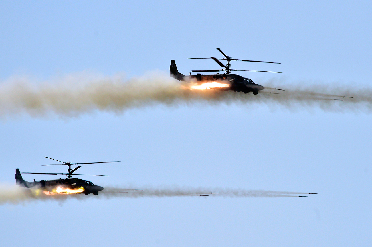 Ka-52K attack helicopters.