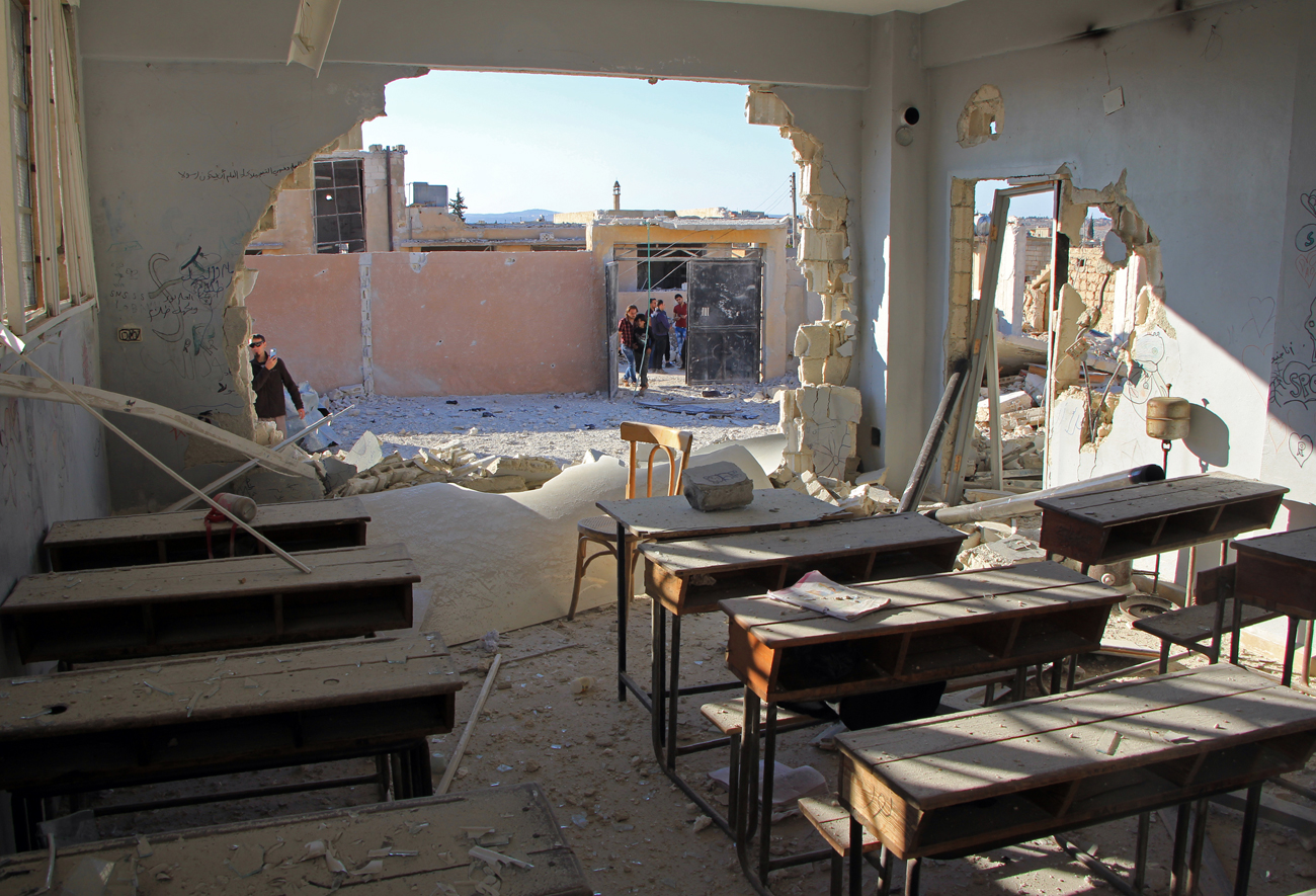 A general view shows a damaged classroom at a school after it was hit in an air strike in the village of Hass, in the south of Syria's rebel-held Idlib province on Oct. 26, 2016