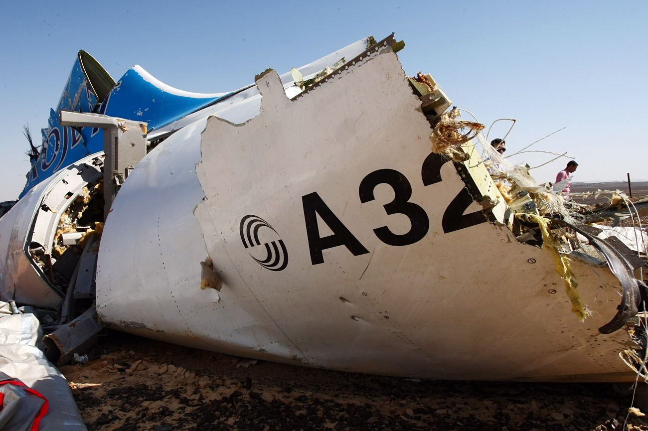 The wreckage of a A321 Russian airliner in Wadi al-Zolomat, a mountainous area of Egypt's Sinai Peninsula. Russian airline Kogalymavia's flight 9268 crashed en route from Sharm el-Sheikh to Saint Petersburg on Oct. 31, killing all 224 people on board, the vast majority of them Russian tourists.