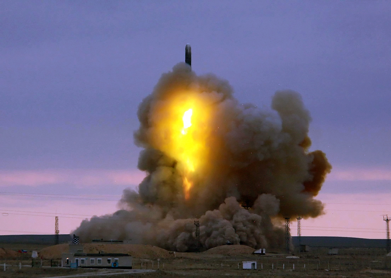"The ""product 4202"" was tested on Oct. 25 at the Kura range in the Kamchatka Region. Pictured: The RS-18 Stiletto intercontinental ballistic missile has been launched from the Baikonur Cosmodrome having its target on the Kura training range."