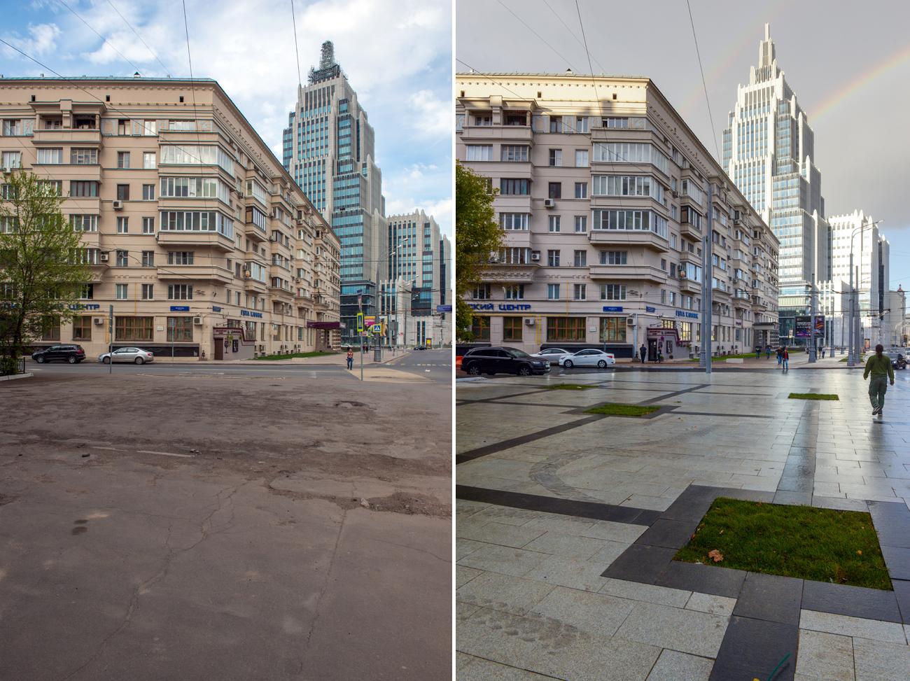 Ruelle Oroujeïny avant et après la rénovation. Crédit: Nikolaï Galkine/TASS