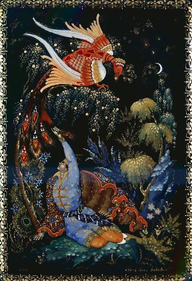 Tsarevich Ivan, the Firebird and the Gray Wolf collected by Alexander Afanasyev in Russian Fairy Tales.