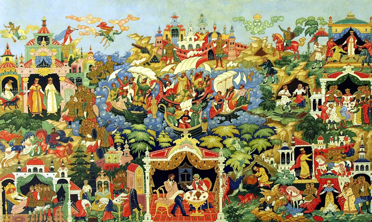 It is home to Russian Palekh lacquer miniature – a traditional craft that produces decorative lacquered boxes, caskets, and brooches. / This painting describes the world of Pushkin's fairy tales.