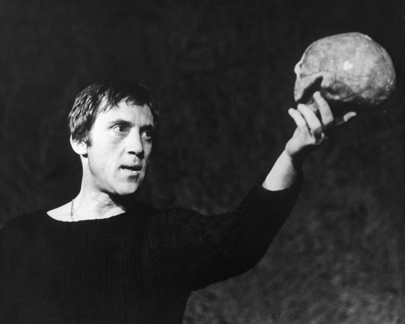 Soviet actor Vladimir Vysotsky as Hamlet at the Moscow Theater of Drama and Comedy on Taganka.