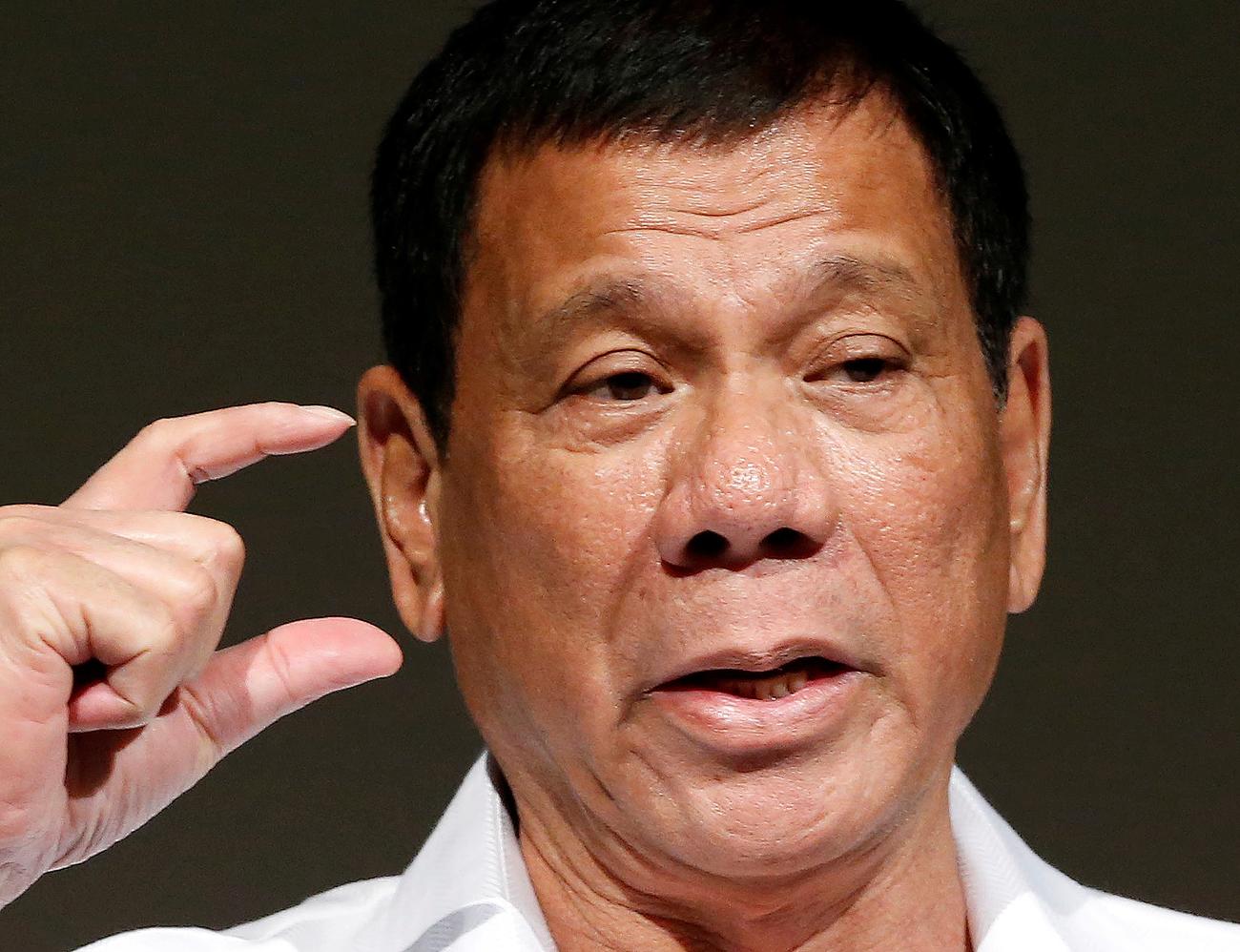 Philippine President Rodrigo Duterte delivers a speech at Philippines Economic Forum in Tokyo.