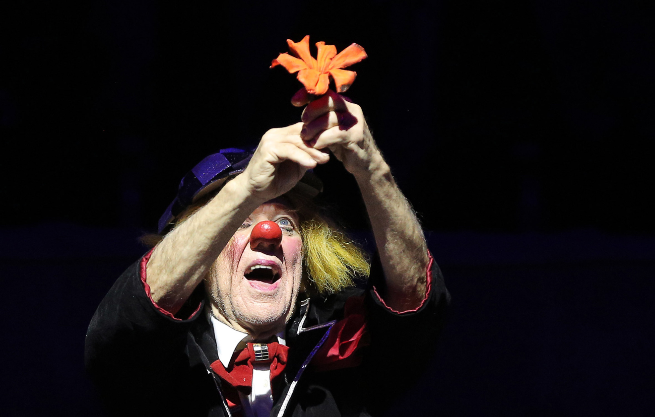 Clown Oleg Popov performs during the premiere of his show May there always be sunshine! at the Bolshoi St. Petersburg State Circus on Fontanka.