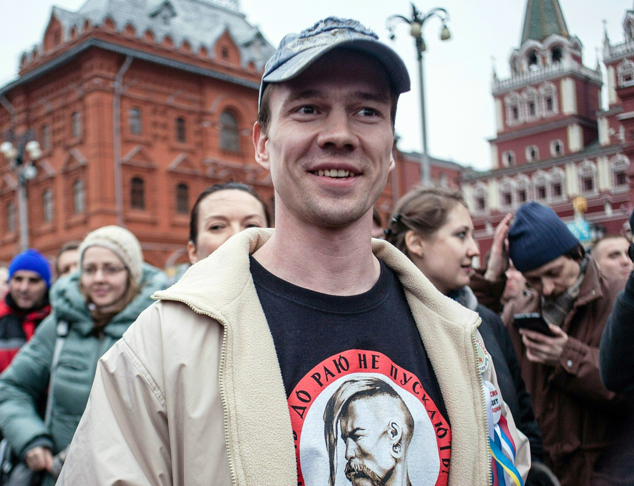 A picture taken on April 6, 2014 at Manezhnaya Square shows Ildar Dadin participating in a rally in support of anti-government activists detained in Moscow's Bolotnaya Square on May 6, 2012.