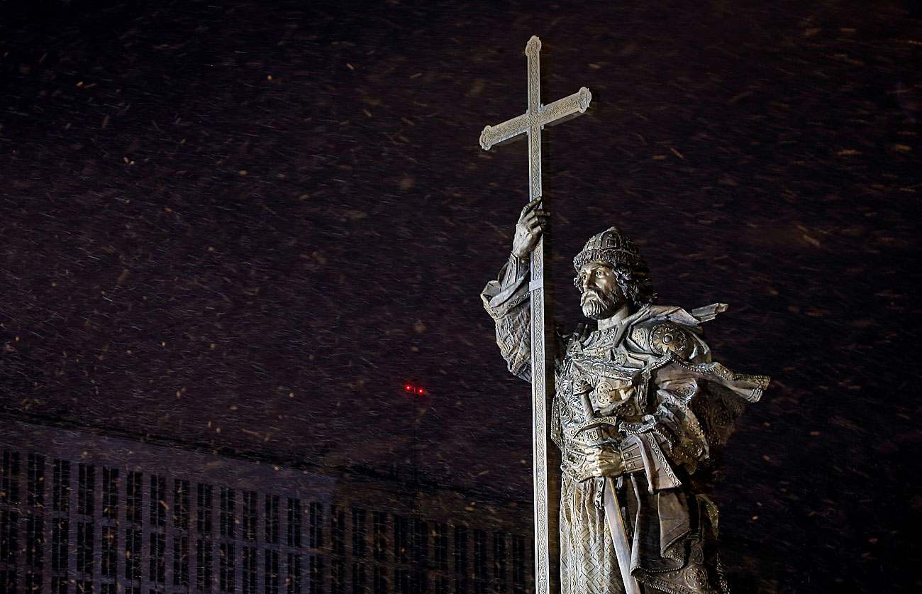 The newly erected monument to Grand Prince Vladimir, who brought Christianity to the precursor of the Russian state, is seen during a snowfall in central Moscow, Russia.