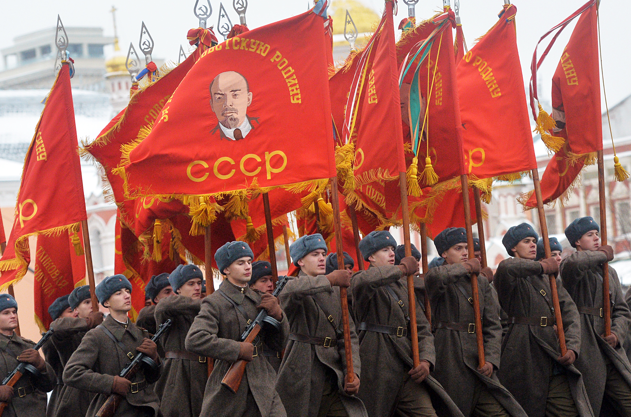 Servicemen wearing the Red Army uniform of the Great Patriotic War, during the ceremonial march commemorating the 75th anniversary of the 1941 military parade on Red Square.