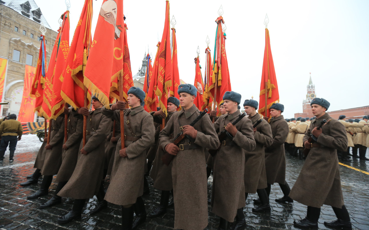 The march marking the parade's anniversary was held in Moscow for the 14th time.