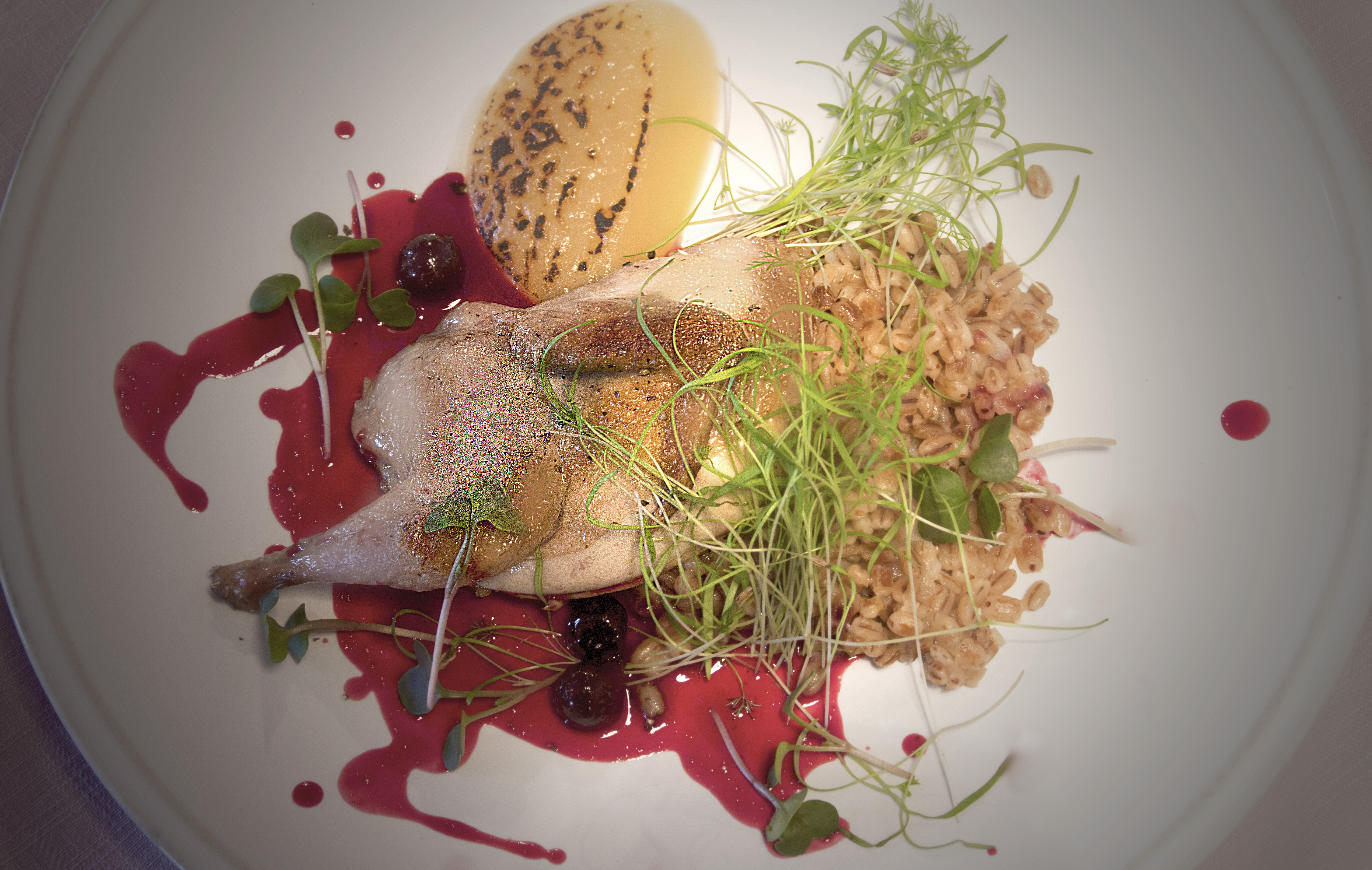 Russian-French Gastronomic Seasons: Quail with pearl barley and apple puree