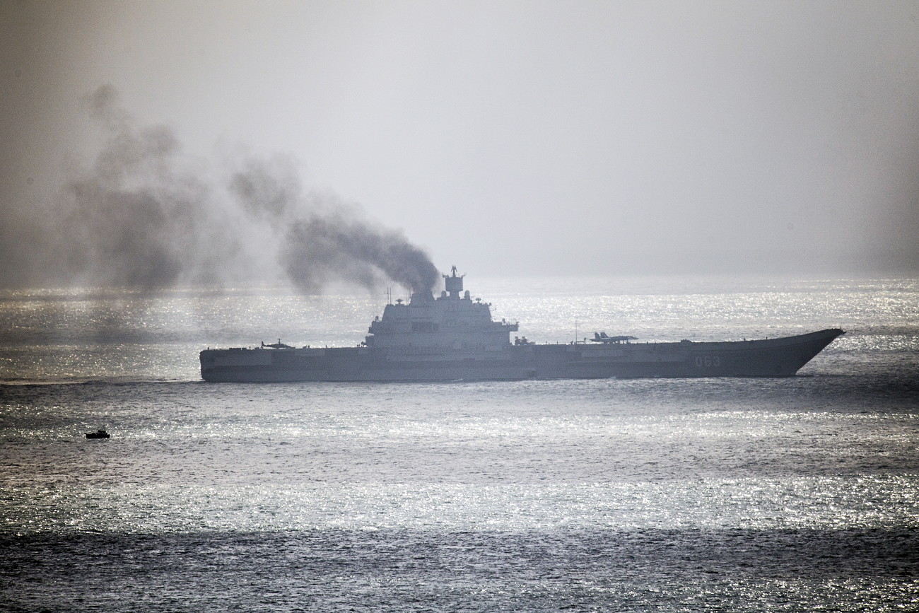 The Russian aircraft carrier Admiral Kuznetsov passes through the English channel on Oct. 21, 2016 near Dover, England.