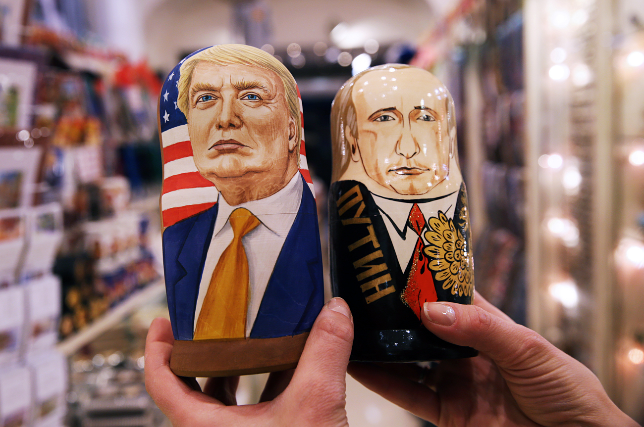 Russian dolls in the likeness of Donald Trump and Vladimir Putin in a souvenir shop.