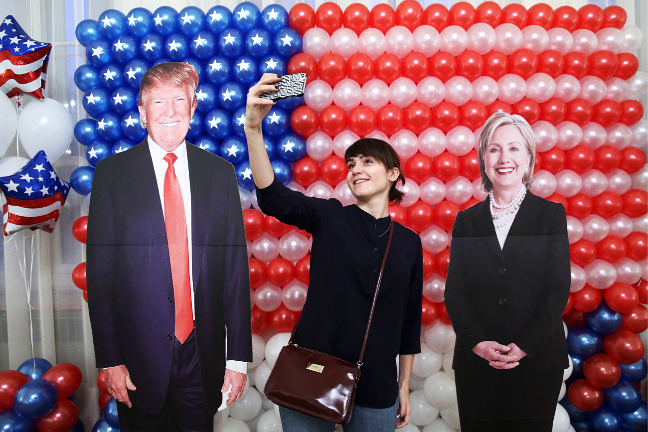 A woman takes a selfie at a reception at Spaso House, the residence of the US Ambassador to Russia, on 2016 US Presidential Election Day.