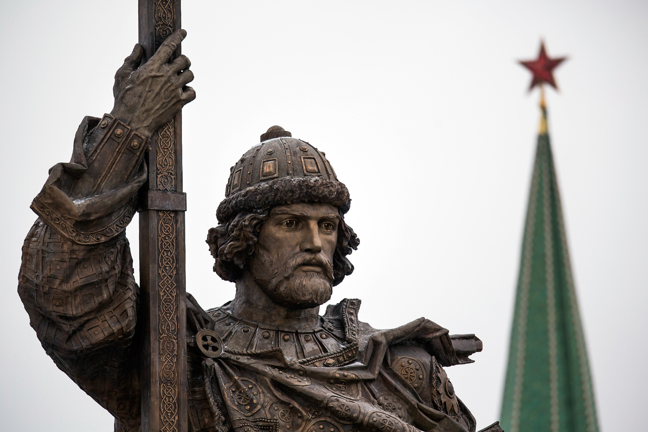 A monument to Vladimir the Great is unveiled on National Unity Day, outside the Kremlin in Moscow, Russia