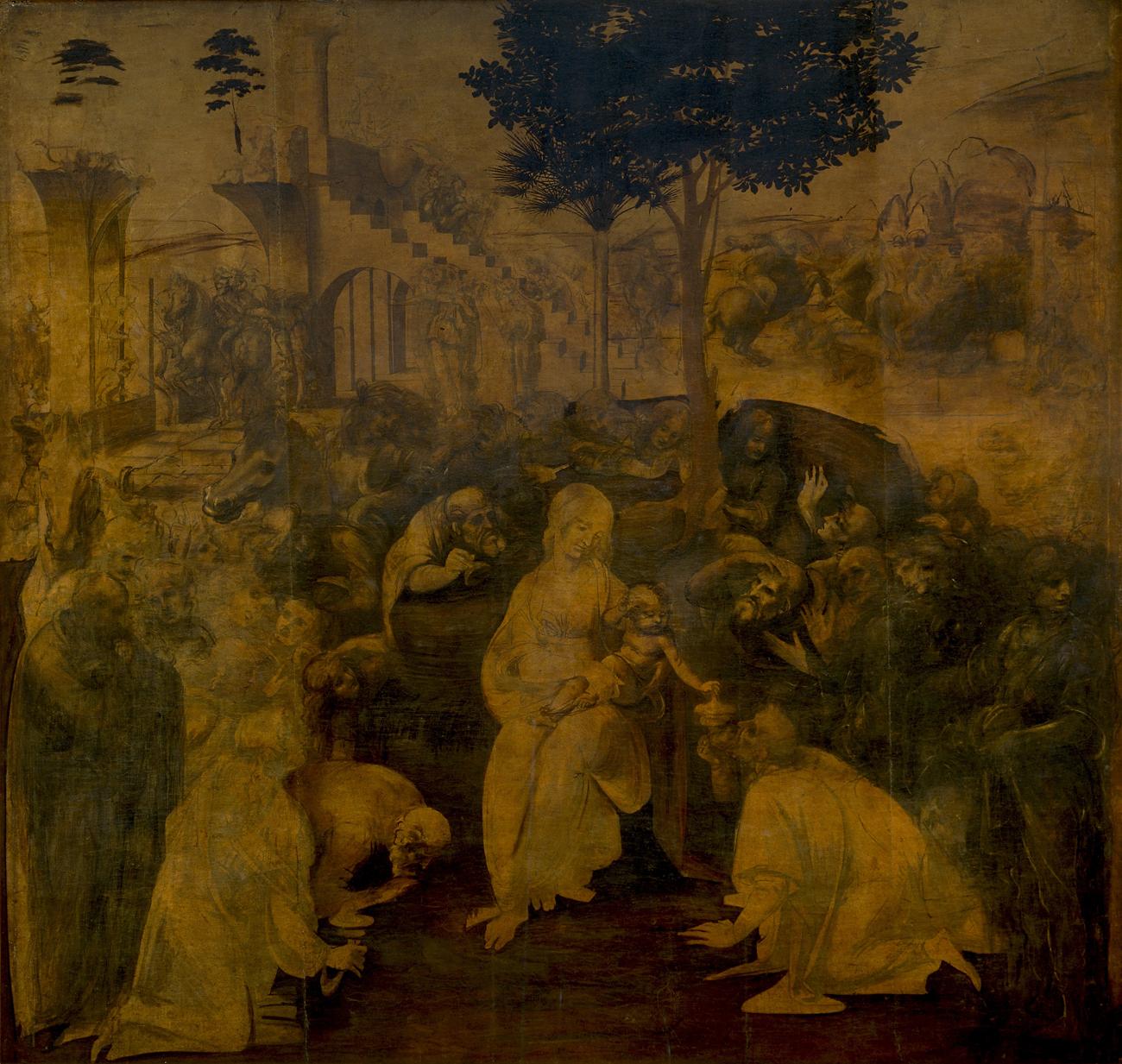 'A Adoração dos Magos' foi encomendada pelos monges da Igreja de São Donato de Scopeto, em Florença Foto: Galeria dos Ofícios