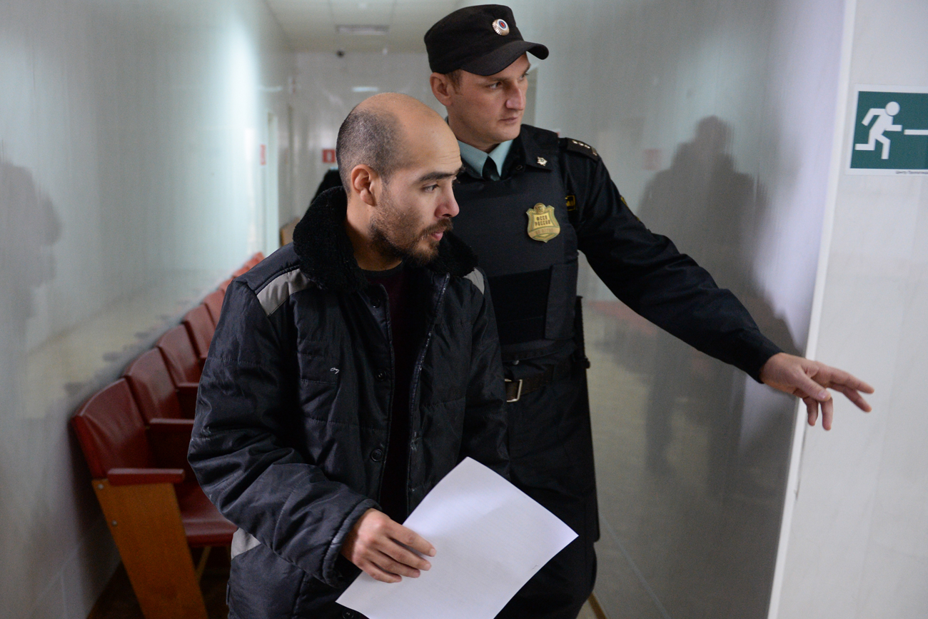 U.S. citizen Julio Prieto after a hearing at the Karasuksky district court. He was charged with illegal crossing of the Russian border, sentenced to a fine and released during the hearing.