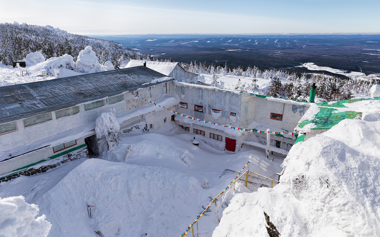 Shad Tchup Ling Buddhist Monastery, founded in 1995, at the top of Mount Kachkara near the city of Kachkanar, Ural Mountains, 1 707 km from Moscow.