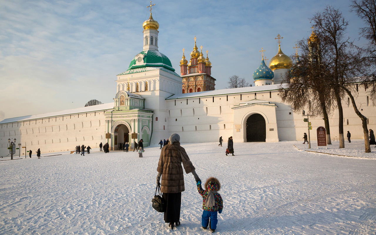 The Trinity Lavra of Saint Sergius is located 70 km northeast of Moscow in Sergiev Posad; it was founded in 1337. The monastery is considered the spiritual home of the Russian Orthodox Church and has over 300 resident monks.