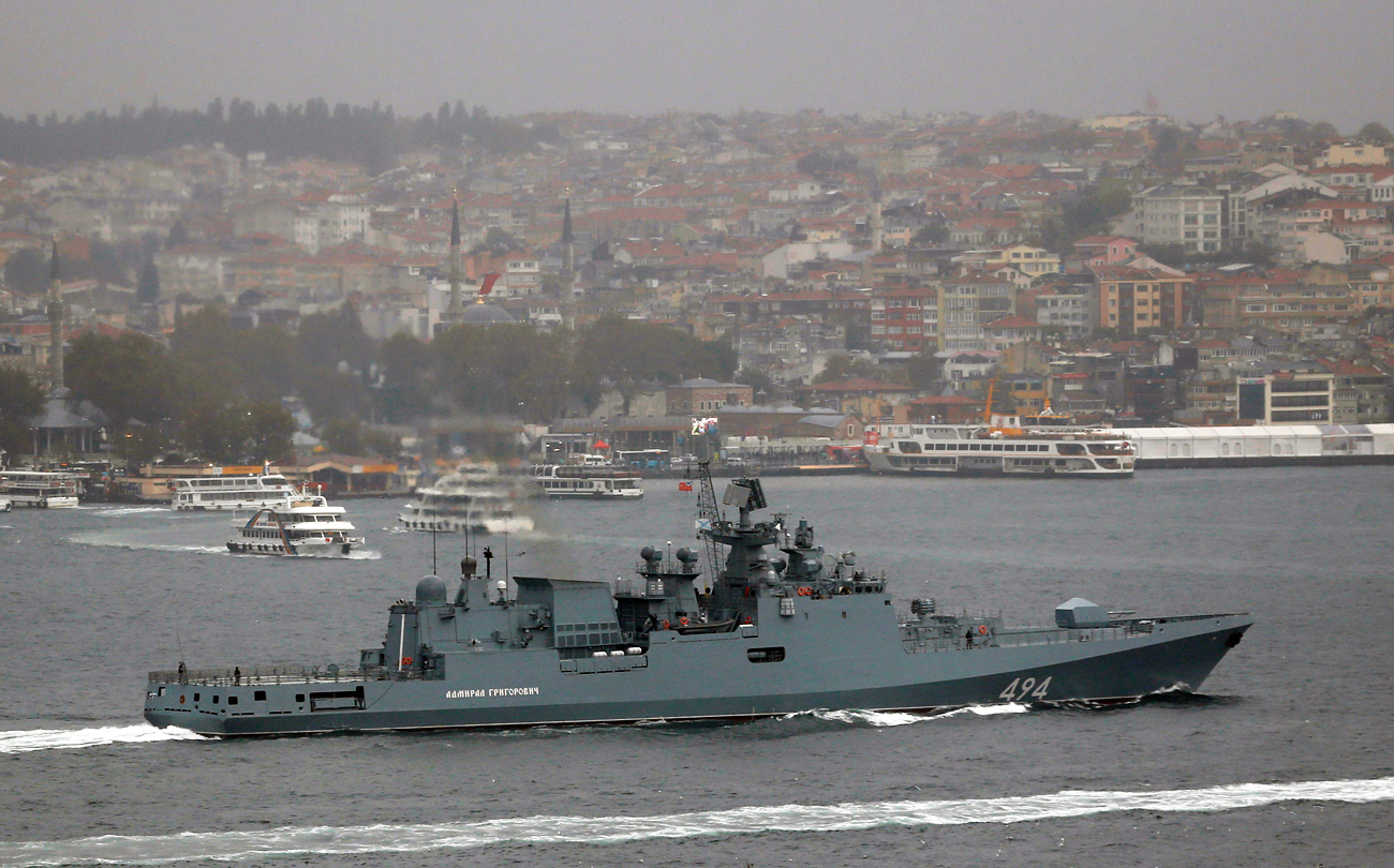 The Russian Navy's frigate Admiral Grigorovich sails in the Bosphorus on its way to the Mediterranean Sea, in Istanbul, Turkey, Nov. 4, 2016.