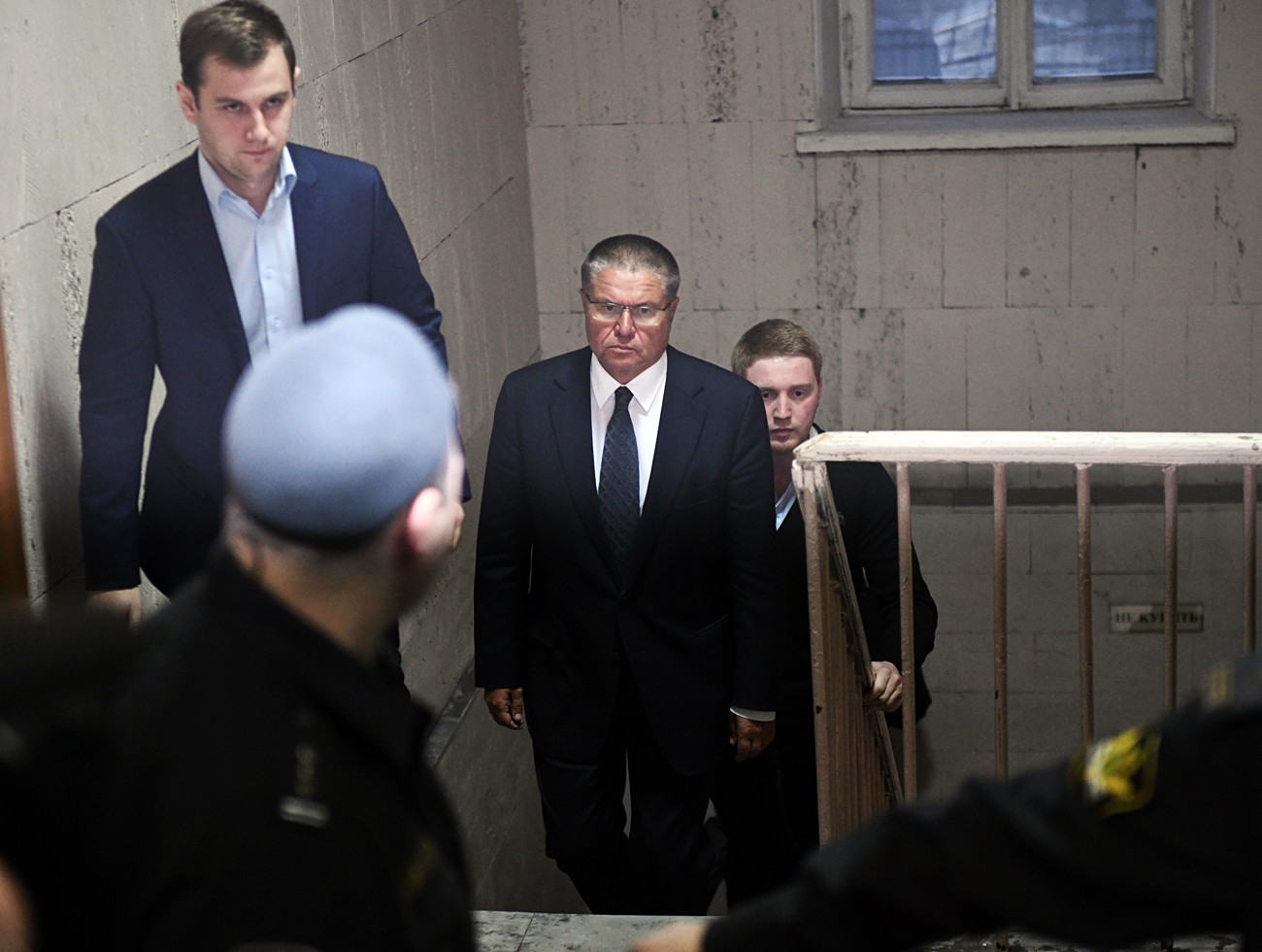 Russian Economic Development Minister Alexei Ulyukayev at Moscow's Basmanny Court.