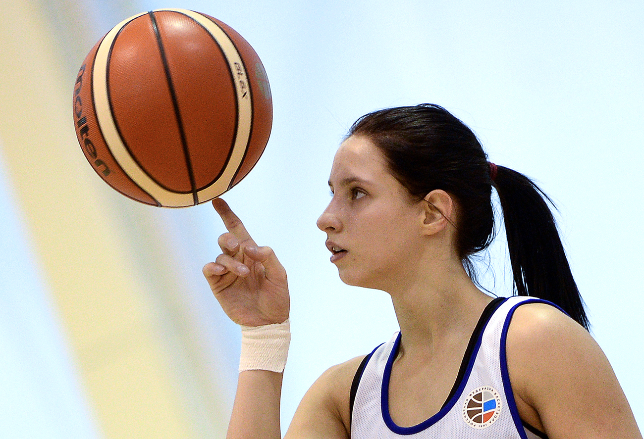 Player Kseniya Levchenko during a training session of the Russian national women's basketball team at the Novogorsk training center