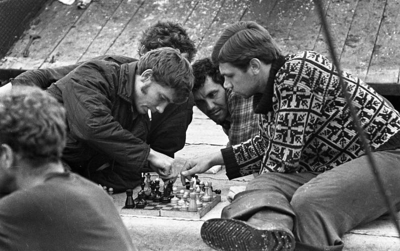 1972. Sakhalin Region, Russian Far East. Sailors relax playing chess on a rare day off.