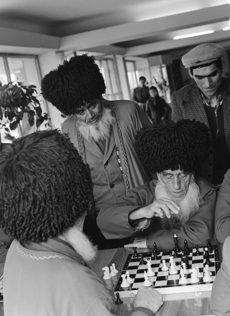 1977. A collective farm in present-day Turkmenistan. Peasant Khidyr Orusov sits at the chessboard during a local chess tournament