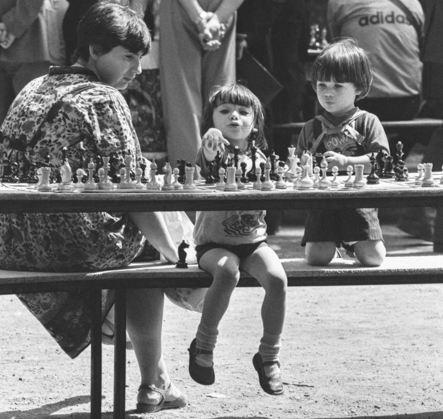 1988. Young participants in an open-air chess festival in Moscow.