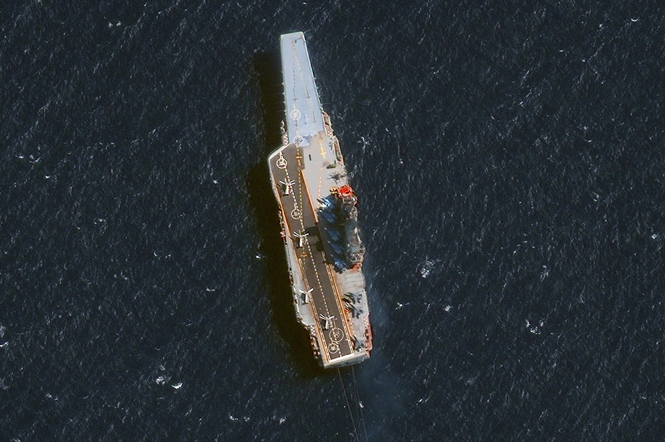 DigitalGlobe's Satellite imagery of Russia's aircraft carrier, Admiral Kuznetsov, in the Alboran Sea just off the coast of Morocco, west of the Straight of Gilbraltar, on Oct. 28.