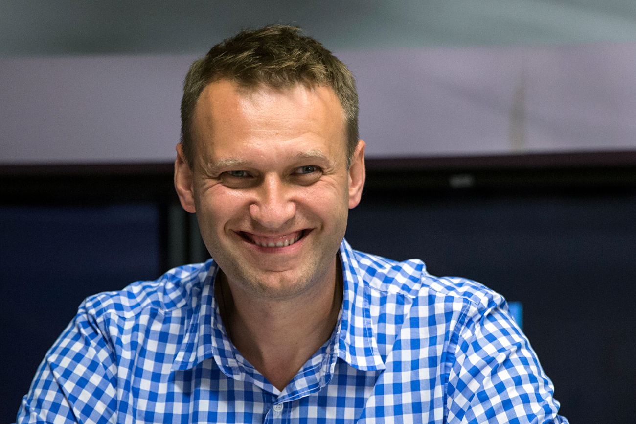 Russian opposition activist Alexei Navalny at the Ekho Moskvy radio station in Moscow.