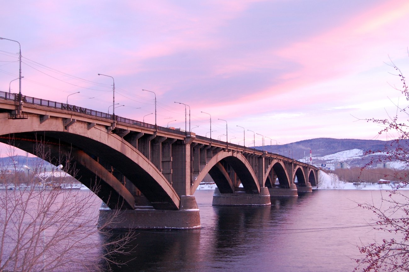 Communal Bridge over Yenisei in Krasnoyarsk.