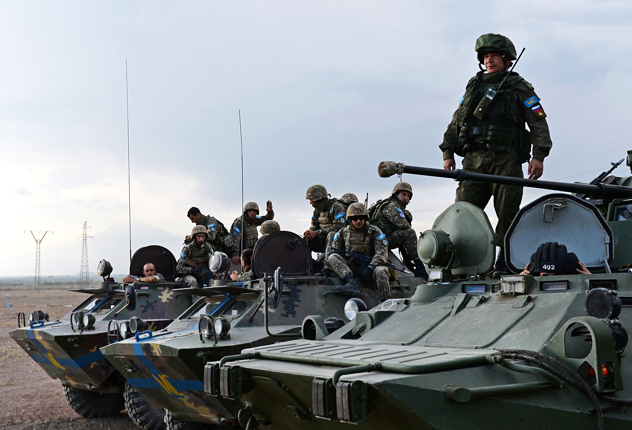 Des soldats pacificateurs du ministère russe de la Défense lors d'exercices conjoints en Arménie.